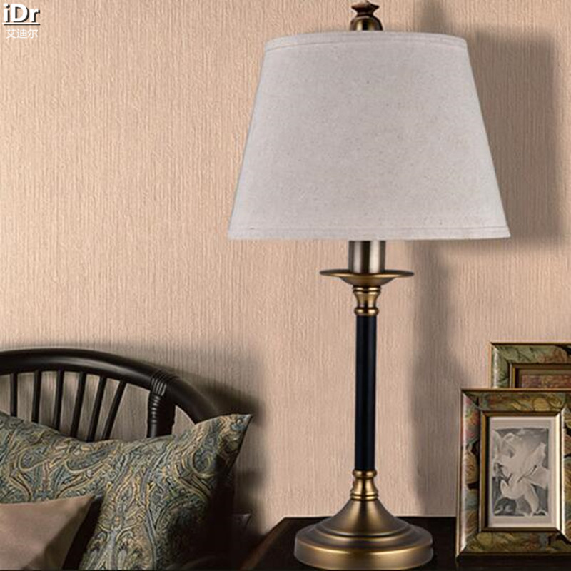 Simple American Copper Iron Bedside Bedroom Living Room Villa hotel lobby study linen Table light Rmy-0258