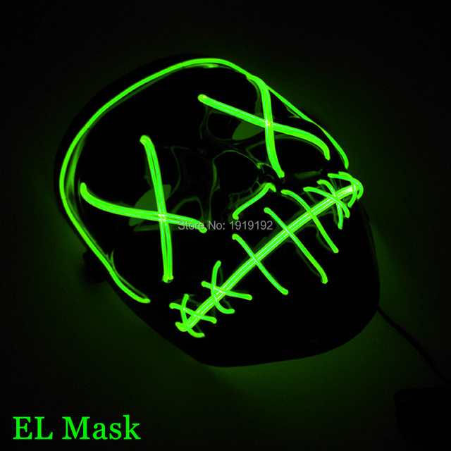 Hot Sale 10 colors Select Creepy Halloween Costume LED MaskScary EL Wire Light Up & Hot Sale 10 colors Select Creepy Halloween Costume LED MaskScary EL ...