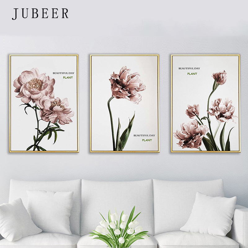 JUBEER Modern Poster and Prints Nordic Style Flower Plant Wall Art Canvas Painting Decorative Picture for Living Room Home Decor in Painting Calligraphy from Home Garden