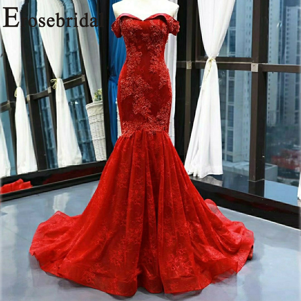 Erosebridal New Arrival 2019 Red Wedding Dresses Mermaid Off The Shoulder Beading Wedding Gown Robe De Mariage for Bride