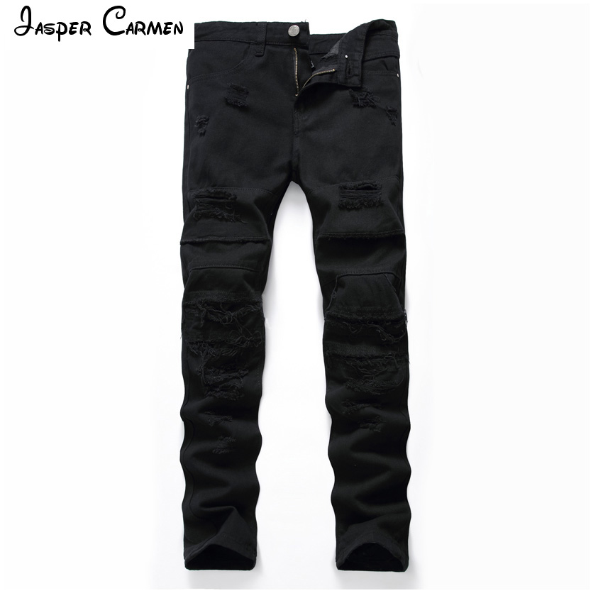 Mens Black Cave Jeans Tide Fashion Casual High Street Casual Pants 55h