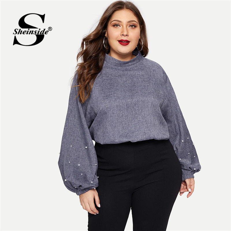 Sheinside Blue Plus Size Long Sleeve   Blouse     Shirt   Women Mock Neck Pearl Beaded Bishop Sleeve Top Female Elegant   Blouses   &   Shirts