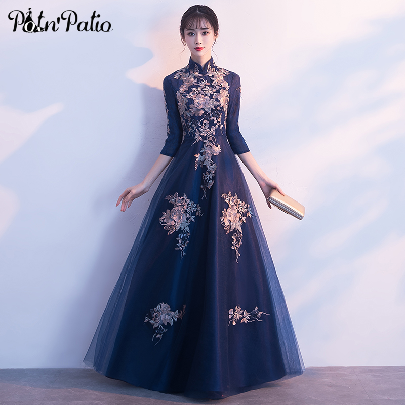 Vintage High Neck Navy Blue Tulle Evening Gown Long With 3 4 Sleeves Luxury Appliques Floor