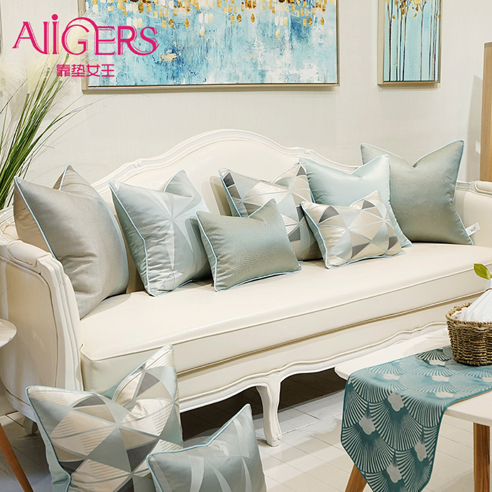 Avigers Geometric Modern Cushion Covers Gray Blue Decorative Pillow Cases With  Invisible Zipper Throw Pillows