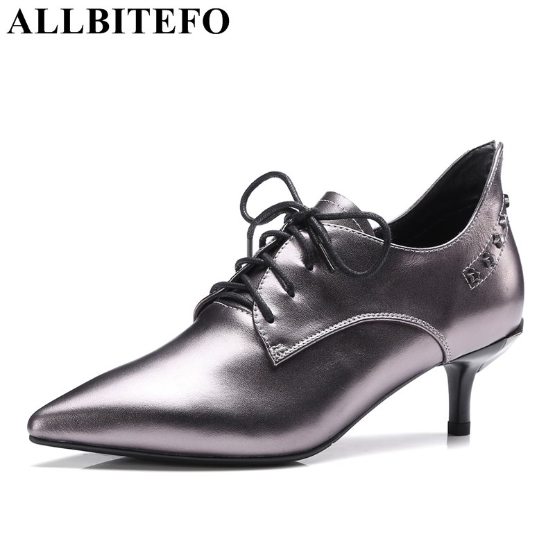 ALLBITEFO large size:33-43 genuine leather pointed toe thin heel women pumps fashion rivets office ladies shoes spring pumps  allbitefo fashion sexy thin heels pointed toe women pumps full genuine leather platform office ladies shoes high heel shoes