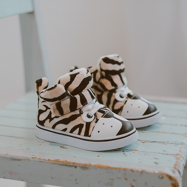 2016 Winter Children's Shoes Korean Boys And Girls Cute Leopard Plus Velvet Warm Casual Cotton Shoes Tiger Boots Toddlers Baby