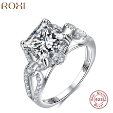 ROXI Rings For  Gift 925 Sterling Silver Ring Fashion Body Jewelry Eight Characters Inlaid Zircon Engagement Women