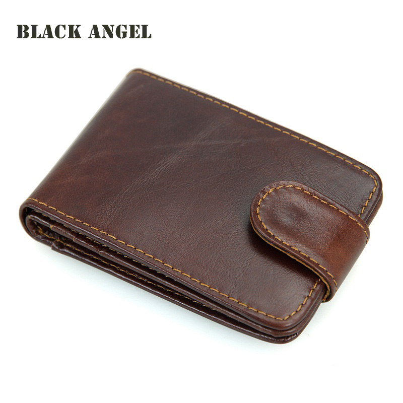 BLACK ANGEL Hasp Genuine Leather RFID Pocket Card Holder business ...