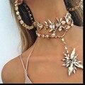 Indain Dvacaman Marca 2017 Chapado En Oro Nupcial Boda Joyas de Cristal Colgante de Collar de Gargantillas Para Las Mujeres Bijoux Declaración I49