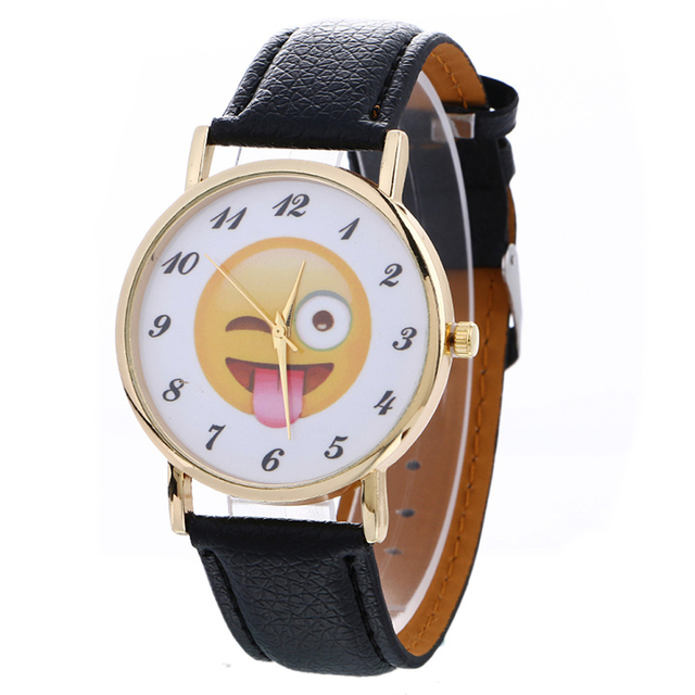 Cute Emoji Watch Women Men Ladies Watches New Hot Fashion Leather Band Casual Qu