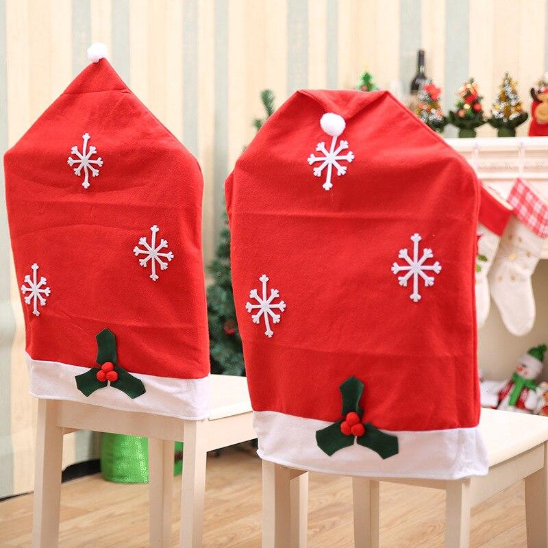 Santa Claus Snowflake Chair Cover Red Hat Christmas Chair