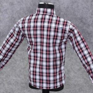 Image 5 - 1/6 Scale ชายเสื้อผ้าสำหรับรูปแอ็คชันขนาด 12 นิ้วสีแดงแขนยาวลายสก๊อตเสื้อกางเกงยีนส์ชุดตุ๊กตาสบายๆชุดเย็นชุดเสื้อผ้า