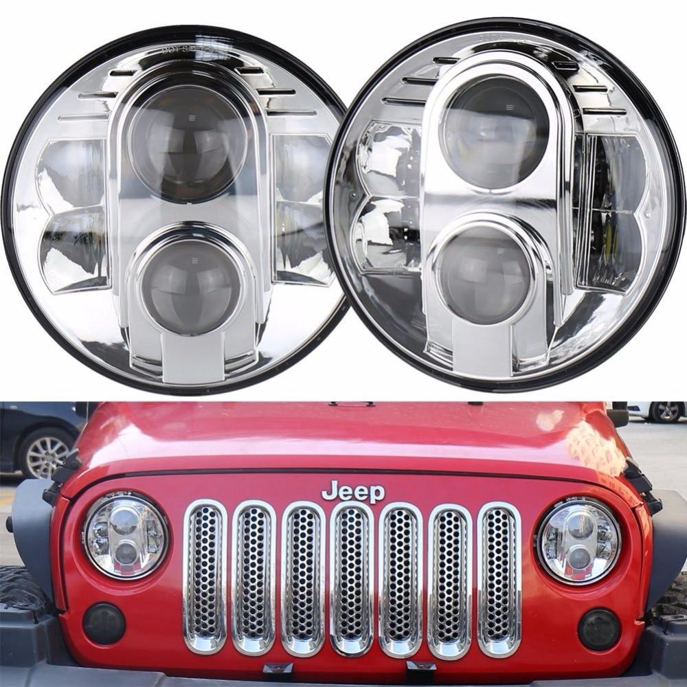 Фотография 12V 24V H4 Aluminum 80W LED Headlight 7 inch with DRL High Low Beam For Land Rove-r Defender Jeep Wrangler JK