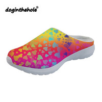 doginthehole Summer Beach Shoes for Women Hearts Colors Pattern Outdoor Slippers Flat Sandals Sports Female Water Shoes Clogs