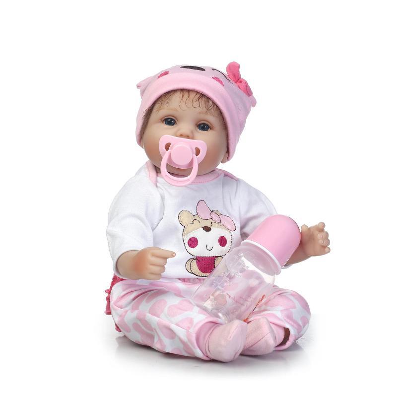 Nicery 16 18 дюймов 40 45 см Bebe Кукла Reborn Мягкая силиконовая игрушка для мальчиков и девочек Reborn Baby Doll подарок для детей розовый медведь прекрасный - 2