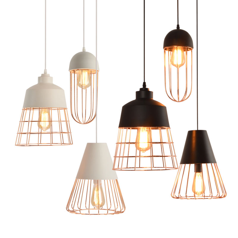 Contemporary Caged White Black Pendant Light Vintage Hanging Restaurant Pendant Lamp Home Lighting Fixture Dining Room Bar Lamps vintage birdcage crystal chandelier lighting black rustic bird cage pendant hanging light chandeliers lamp for dining room bar