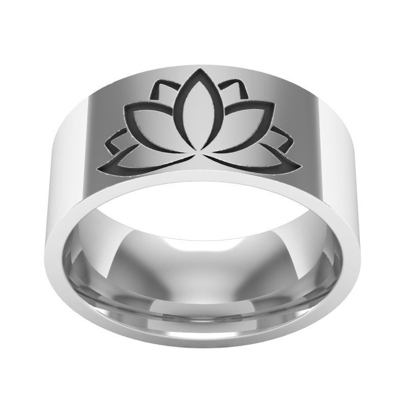 High Quality 316L Stainless Steel Vivid Yoga Lotus Flower Finger Ring For Women Men Punk Amulet Fashion Jewelry Wedding Gift