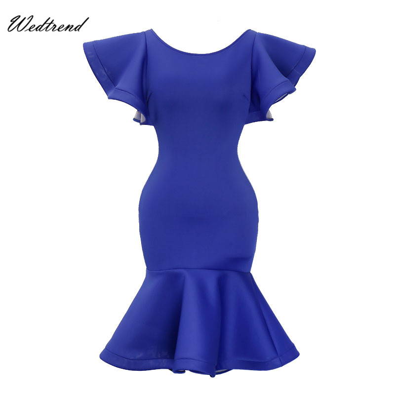 Wedtrend Dresses For Women O-Neck Royal Blue Sheath Lady Causal Dress Zipper Pencil Dress 2018 Cheap Female Gown Pullover Female