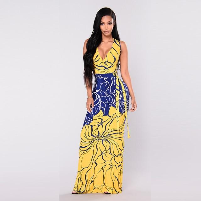 4a067f6aa Misstyle Novo Impresso Mangas Maxi Vestido Amarelo e Azul Arco Profundo  Decote Em V Vestido Longo