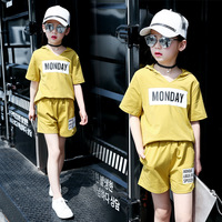 Children's 2017 New Product Girl Summer Short Sleeve Shorts Child Even Hat Motion Leisure Time Suit 2 Pieces