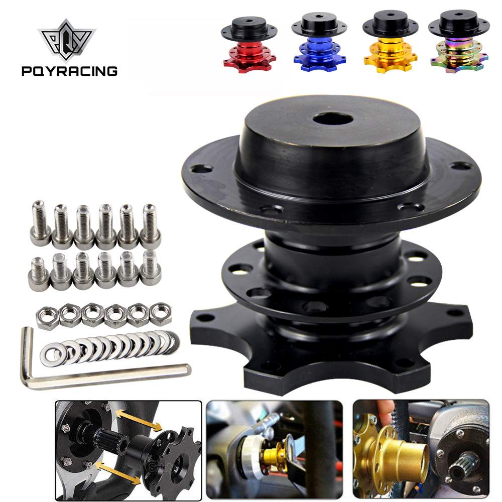 PQY - Universal Steering Wheel Quick Release Hub Boss Kit Wheel Hub Adapter For 6 Hole Steering Wheel Hub PQY3859