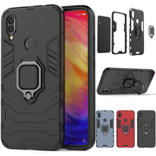 For Xiaomi Redmi Note 7/Pro Case Dual Layer Magnetic Ring Armor Shockproof Protective Back Kickstand Cover