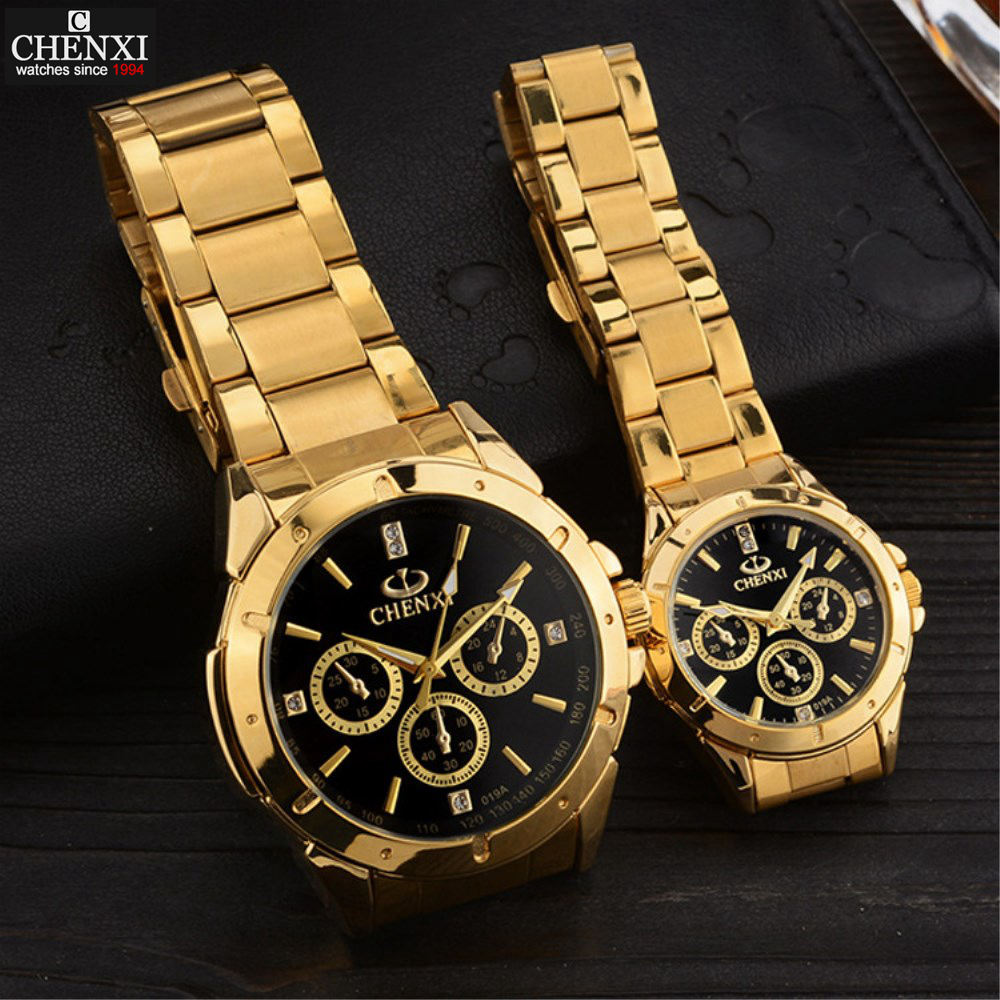 CHENXI Lovers Quartz Watches Women Men Gold Wrist Watches Top Brand Luxury Female Male Clock IPG Golden Steel Watches PENGNATATE chenxi men gold watch male stainless steel quartz golden men s wristwatches for man top brand luxury quartz watches gift clock