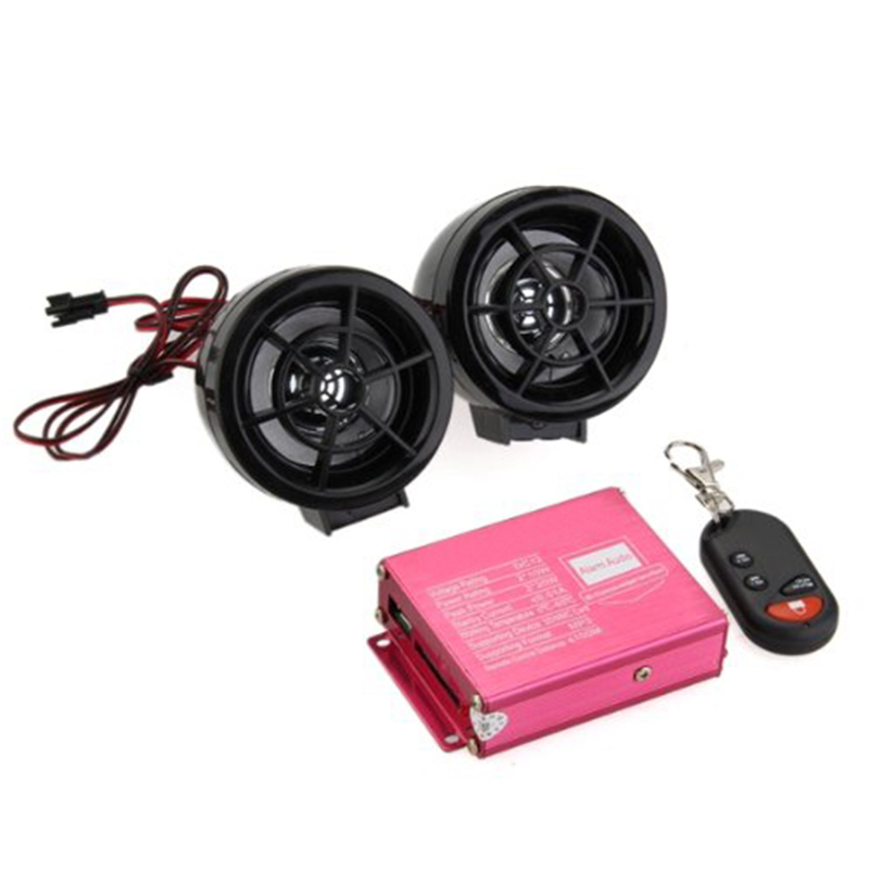 Wireless Remote Sound System Motorcycle Car Audio Speakers FM Radio USB SD Speaker Alarm Systems Anti-theft Motorbike MP3 Audio