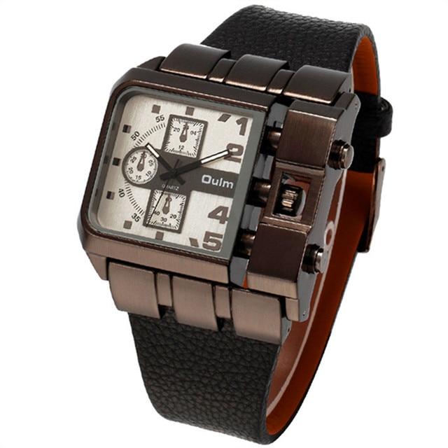 0ccafeab138 Mens Relógios Marca Top OULM Pulseira de Couro Casual Relógio de Quartzo  Dos Esportes Da Forma