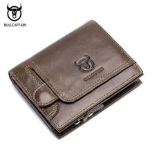 BULLCAPTAIN Genuine Cow Leather Men Wallets Vintage Bifold Wallet Zipper Coin Pocket Purse Fashion Wallet For Men Multifunction цена и фото