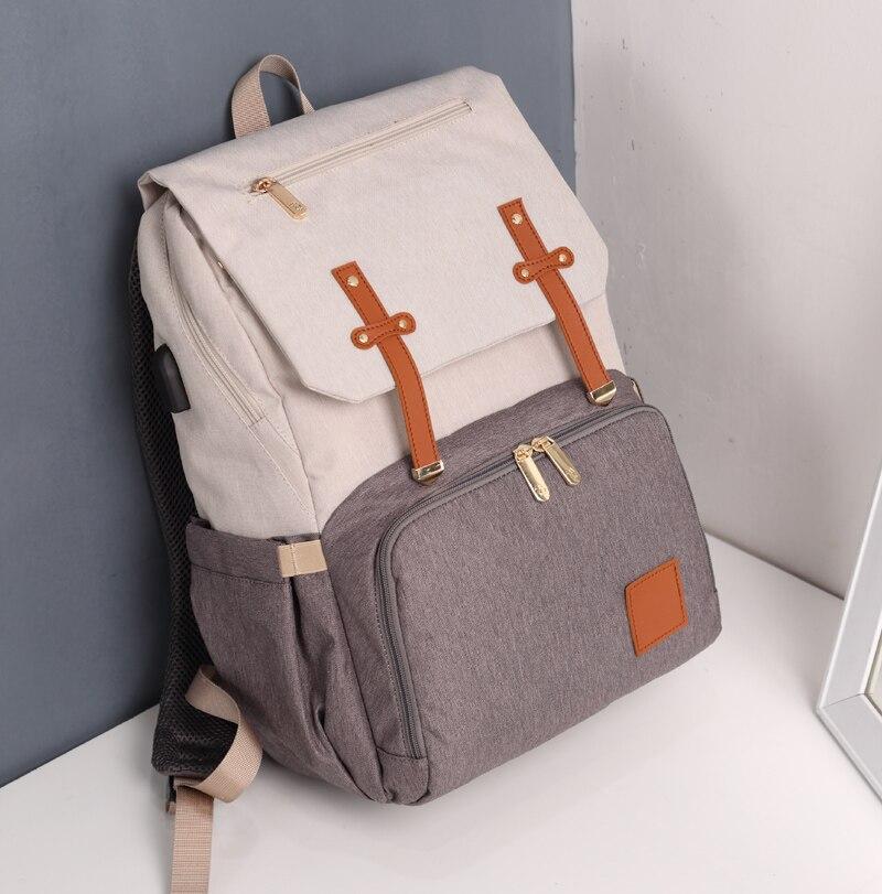 HTB1zsALaOnrK1Rjy1Xcq6yeDVXac Diaper Bag Mummy Daddy Backpack Baby Stroller Bag Waterproof Oxford Handbag Nursing Nappy Kits Maternity Bag USB Warmer Holder