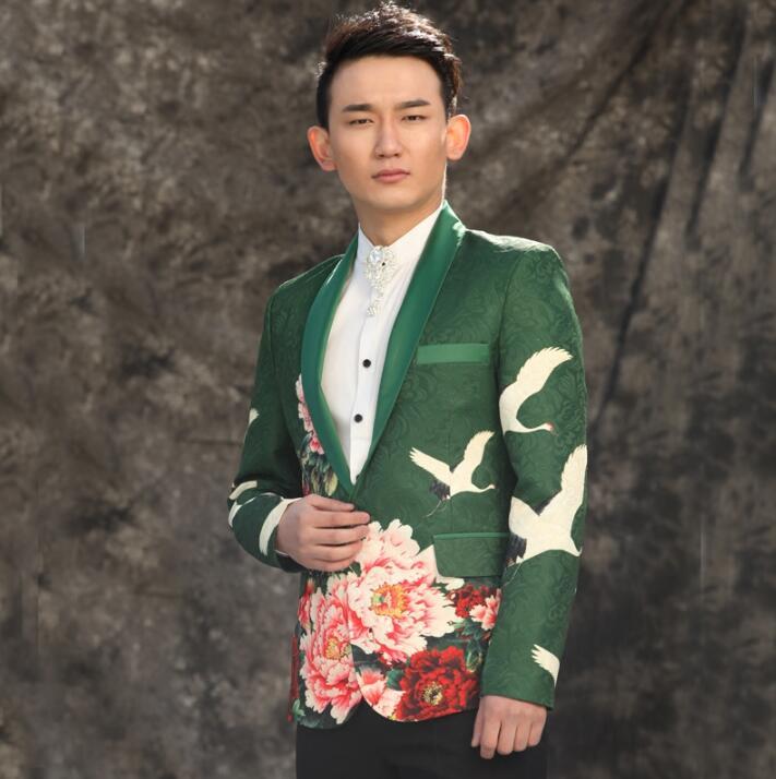 Мужские костюмы конструкции цветы пиона Homme TERNO Сценические костюмы для певцов мужчин Блейзер Танцы одежда куртка торжественное платье в ст