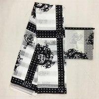 African Print Satin Fabric african ankara print 4 yard silk wax satin fabric +2 Yard Chiffon For dress MOR 10