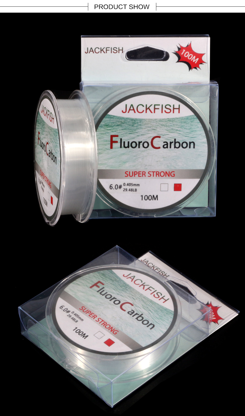 JACKFISH 100M Fluorocarbon fishing line 5-30LB Super strong brand Leader Line clear fly fishing line pesca 9