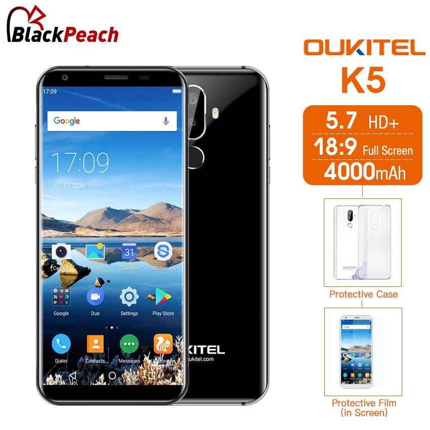 Oukitel K5 5.7 inch 18:9  MT6737T Quad Core Android 7.0 2GB RAM 16GB ROM 8MP Dual Cameras 4000mAh Fingerprint 4G LTE Smartphone