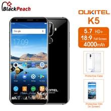 Хорошее Oukitel K5 5,7 дюймов 18:9 MT6737T 4 ядра Android 7,0 2 ГБ Оперативная память 16 ГБ Встроенная память 8MP двойной камеры 4000 мАч отпечатков пальцев 4 г LTE смартфон