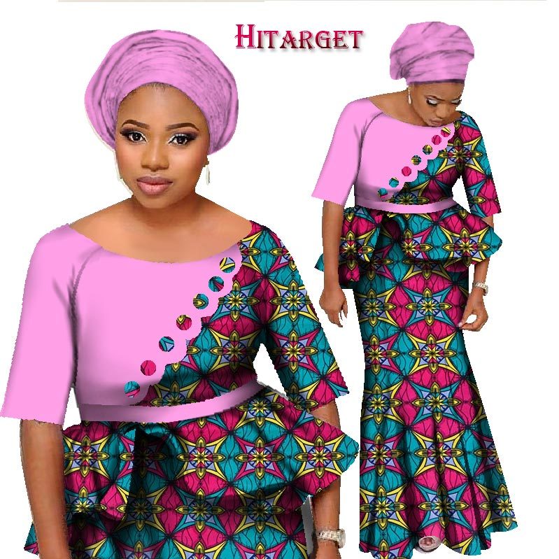 2017 bintarealwax african two piece set women half sleeve