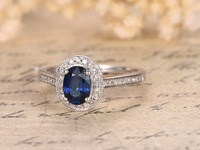 MYRAY Natural Genuine Oval Blue Sapphire Diamond Band Vintage Engagement Ring 14k White Gold Rings Wedding