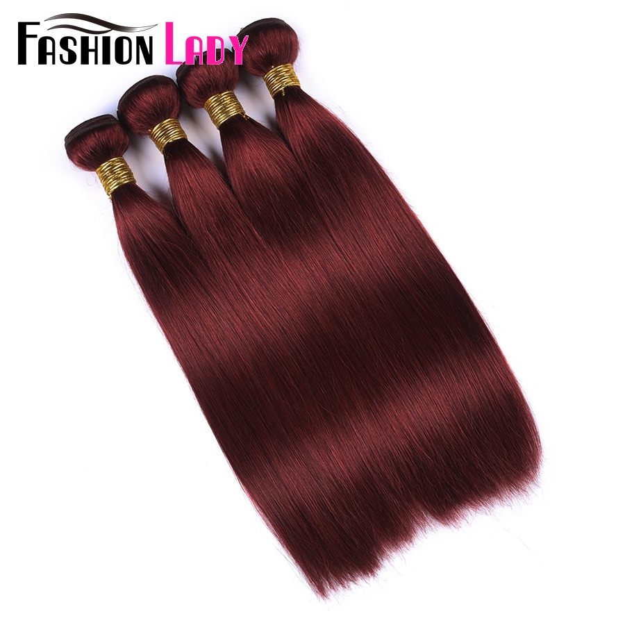 Fashion Lady Pre-Colored Malaysian Straight Hair Bundles 33# Human Hair Weave 4 Bundle Deals Red Hair Extensions Non-Remy