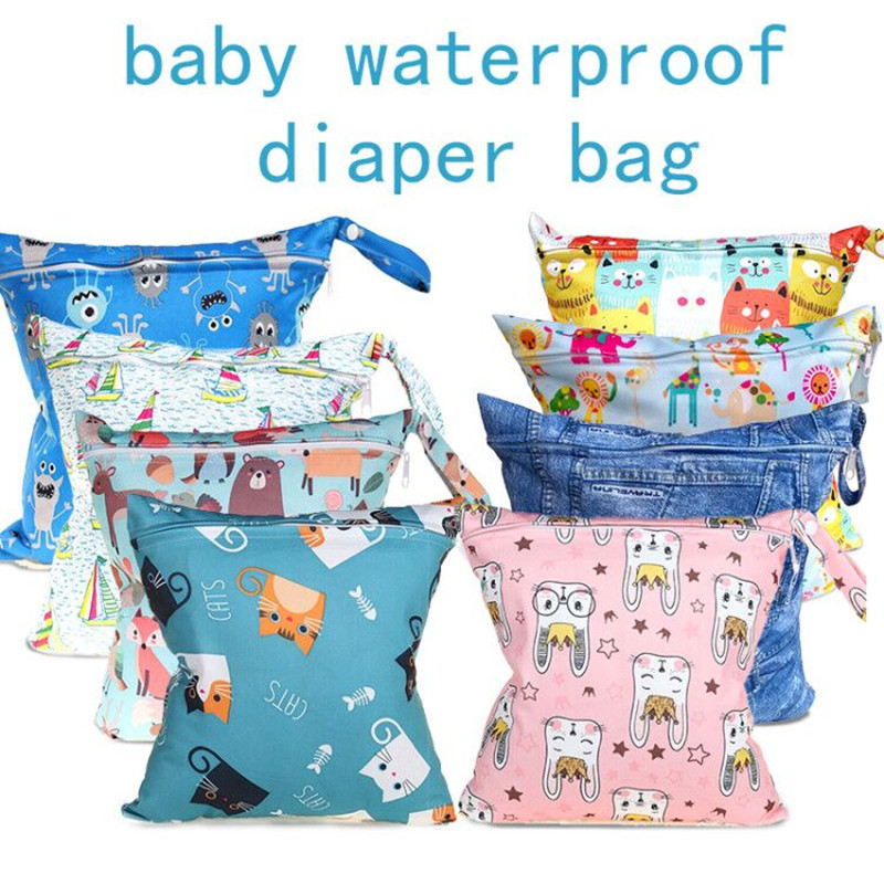 Waterproof Swim Sport Travel Carry Bag/ Washable Reusable Cloth Diaper Wet Bag / Big Size:28X30cm Nappy Bag Baby Wet Diapers Bag
