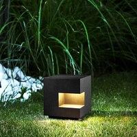 Открытый квадратный светильник лужайки стальной материал черный солнечного света лампы сад Новый стиль Бесплатная доставка