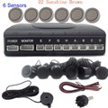 free shipping 44 colors Car Parking Sensor Kit 6 Sensors 12V Reverse Assistance Backup Radar sound alert System radar