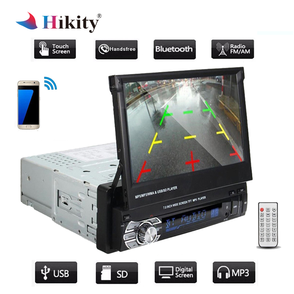 Hikity 2 Din Car Stereo audio Radio Bluetooth 1DIN 7 HD Retractable Touch Screen Monitor MP5