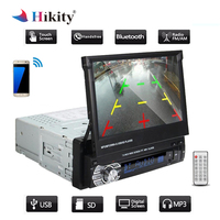 Hikity 2 Din Car Stereo audio Radio Bluetooth 1DIN 7 HD Retractable Touch Screen Monitor MP5 SD FM USB Player Rear View Camera