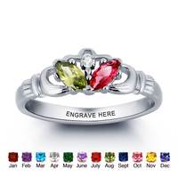 Claddagh Ring Personalized Jewelry Names Ring 925 Sterling Silver Infinity Best Valentine's Day Gift (Silveren SI1780)