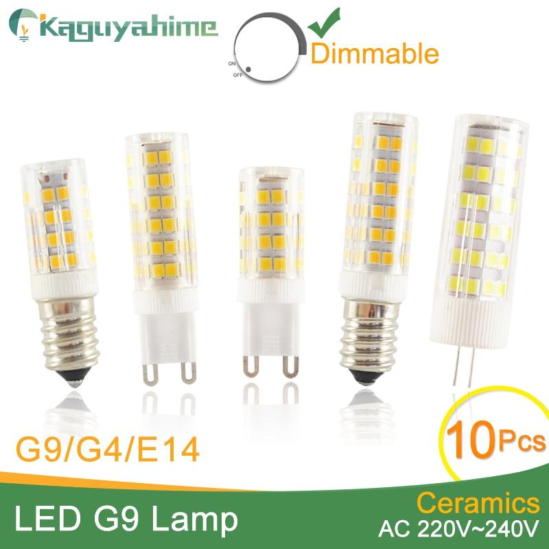 Kaguyahime 10pcs High Bright Ceramic Dimmable LED G4 G9 E14 Light Led Lamp G4 220V ACDC DC AC 12V LED Bulb G9 3W 5W 6W 7W 9W 10W