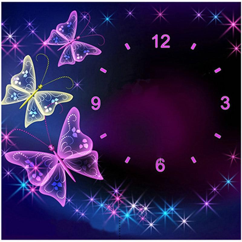 Diy 3d diamond painting wall clock crystal butterfly pattern full round rhinestone 5d diamond embroidery artwork mosaic clock