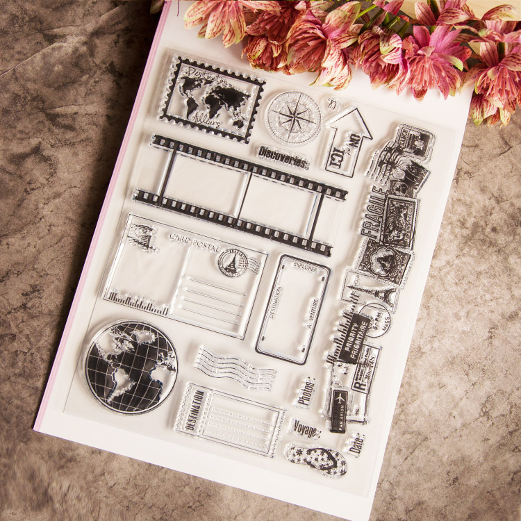 Postcard Scrapbook DIY photo cards account rubber stamp clear stamp transparent handwork art seal school Kid gift 1pcs sample laser cut bride and groom marriage wedding invitations cards greeting cards 3d cards postcard event party supplies