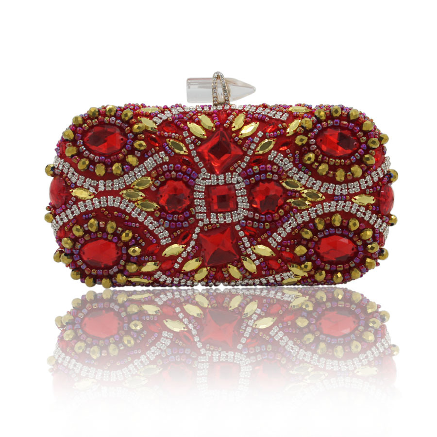 Women Bag New Retro Luxury Diamond Handmade Bead Party Day Clutches Purse Ladies Evening Clutch Bags Hand Bag Package high quality women luxury crystal evening bags day clutches ladies handbags sisters party purse multi color diamond small