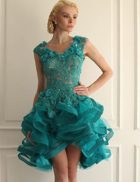 d0bba2410 Organza vestido de Bola de Tulle Turquesa Vestidos de Fiesta Azul Espalda  Abierta Con Cuello En